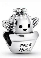 Genuine Pandora Sterling Silver Free Hugs Cactus Love Charm Flower Pot bead