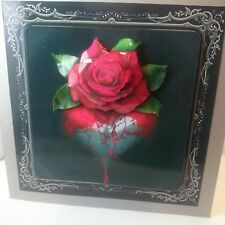Handmade 3D Gothic birthday day card red rose with my heart