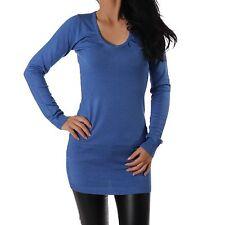 femmes pull à maille fine Pull tricot longue pull bleu col en V NEUF XXS-S