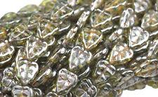 25 TRANSPARENT GREEN CZECH GLASS LEAF BEADS 10MM