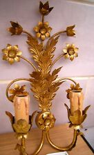 Pair Mid Century Italian Gilt flower leaf Wall Sconces Hollywood Regency, Tole,