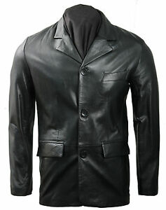 Mens Smart 3 Buttoned Fitted Black Genuine Real Leather Blazer Jacket