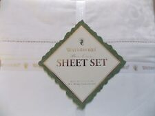 NEW WATERFORD TOSCA SCROLL WHITE 4 PIECE QUEEN SHEET SET