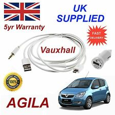 Vauxhall AGILA Micro USB Audio Cable For Samsung Galaxy etc & 1.0A Power Adapter