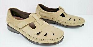 SAS Roamer Women Shoes Khaki Leather Comfort Moc Toe Adj. Strap TRIPAD Size 7.5M