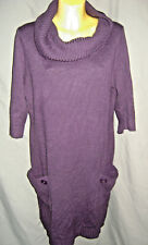 PLUS SIZE SZ 1X SZ 14W SZ 16W DRESSBARD SWEATER DRESS COWL NECK W POCKETS WOMENS