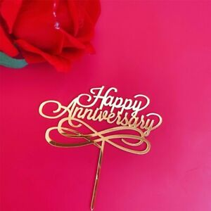 Valentines Day Anniversary Love Acrylic Cake Topper Decoration Gold UK Supplies