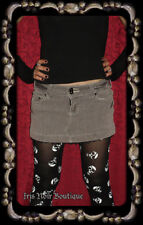 'Rainy Day' Punk Casual Goth Gray Mini Skirt with Black Lace Trim Sz 11