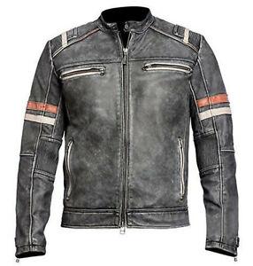 Men's Biker Vintage Style Cafe Racer Retro Distressed Leather Jacket - B3