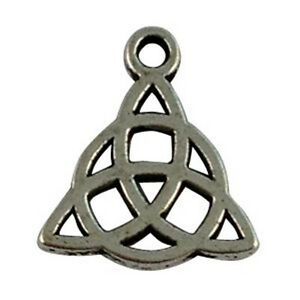60PCS Tibetan Silver Metal Triangle Knot  charms for jewelry making T16269