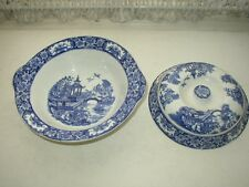 Antique, Rare, English Variant Blue Willow 4in x 10in  Covered Vegetable