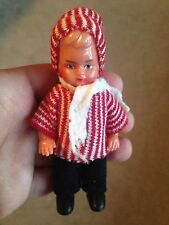 """Vintage Miniature hard plastic boy doll winter outerwear tagged  4"""" jointed arms"""