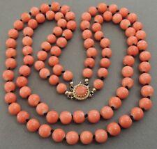 Natural MOMO Coral Bead Necklace NO Dye 69 Grams 14K Gold Clasp
