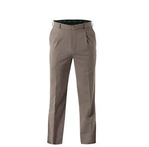 Mens KingGee Single Pleat Formal Work Office Pants Taupe Poly Wool Blend K03640