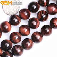 "Red Tiger's Eye Gemstone Round Loose Beads For Jewellery Making Strand 15"" UK"