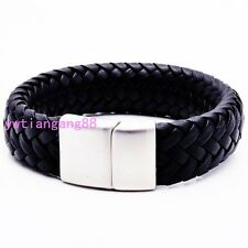 Genuine Leather Cuff Bangle Bracelet New Men's Braided Stainless Steel Wristband