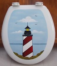 HP TOILET SEAT/LIGHTHOUSE/NAUTICAL/RED/WHITE LIGHTHOUSE