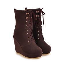 Freizeit Keilabsatz Damen Wedge Stiefel Schuhe Stiefeletten Platform Neu 32-43