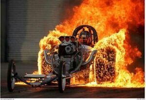 Classic Dragster Fire Burnout 2'x3'  Vinyl Banner.  Drag race NHRA