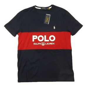 Polo Ralph Lauren Navy Blue & Red Big & Tall Colorblock Logo Graphic S/S T-Shirt