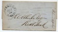1852 Freehold NJ stampless folded letter 5cents integral rate [4271]