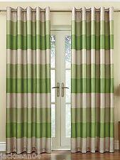brésil vert beige rayé Faux Silk Lined Ring Top 117cm x 137cm rideaux OIR