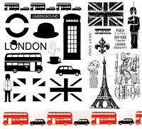 London & Paris Stamps - Eiffel Tower, Union Jack, Post Card, Underground, 2 Sets