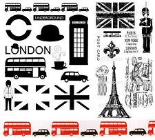 2 Sets London & Paris Stamps - Eiffel Tower, Union Jack, Post Card, Underground