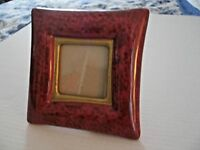 1993 TerraGrafics Photo Frame Decorative Porcelain Burgundy & Gold w Easel