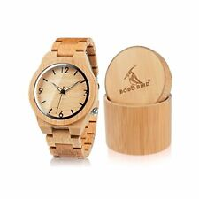BOBO BIRD D27 Men's Bamboo Wooden Watch Numeral Scale Large Face Quartz Watch...