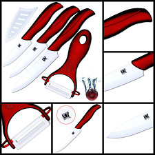 "Sharp Kitchen Ceramic Knife Set Kitchen Knives 3"" 4"" 5"" Blade w/ Peeler + Cover"