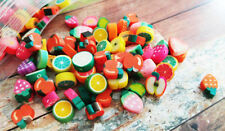 50 BULK Beads Polymer Clay Beads Fruit Beads Assorted Lot 7mm to 12mm