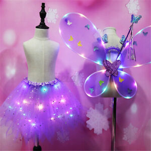 4pcs Kids LED Fairy Dress Butterfly Wing Wand Headband Costume Party Girls