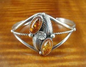 Amber Stones with Leaf Flower Design Sterling Silver Cuff BRACELET