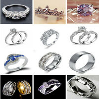 Romantic Unisex Stainless Steel Crystal Ring Men/Women's Wedding Band SZ 6-12 TR