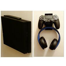Wall mount  for PS4 CONSOLE & Controller headset with mounting screws, (black)