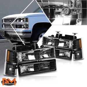 For 94-99 Chevy C/K Pickup Suburban Headlight/Lamps Black Housing Amber Corner
