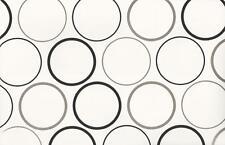 Wallpaper Designer Black and Metallic Silver Circles on White