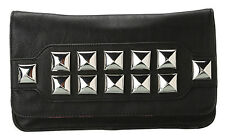 NWT BETSEY JOHNSON EDGY LARGER BLACK FAUX LEATHER STUDDED EVENING BAG CLUTCH
