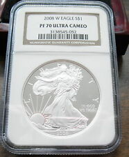 2008-W  NGC  PF 70  PROOF SILVER EAGLE $1.00 DOLLAR COIN ULTRA CAMEO WOOD BOX