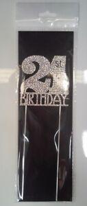 21st Birthday Diamante Cake Topper Decoration (6cm) Pk 1