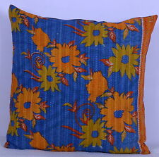 "24"" VINTAGE KANTHA WORK CUSHION PILLOW COVER INDIAN BOHEMIAN DECOR THROW PILLOW"