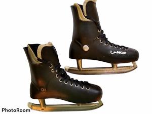 Vintage 1970's Rare Men's Lange Molded Ice Hockey Skates-Size 10M NHL Approved