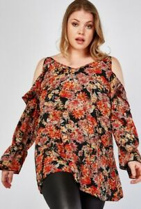 LOVEDROBE Stunning Plus Size Red Black Floral Print Cold Shoulder Ruffle Top 22