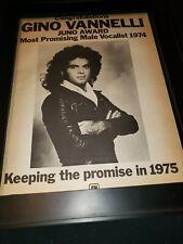 Gino Vannelli 1975 Juno Awards Rare Original Promo Poster Ad Framed!