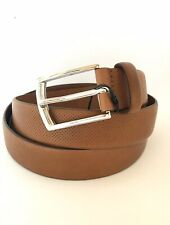 New Zara Men's Perforated Leather Belt Tan Brown Size 40 Italy