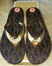 Michael Kors Womens Jet Set Logo PVC Flip Flop Thong Sandals Sz 7 Gold/Brown NWT