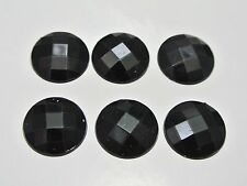 100 Black Acrylic Flatback Faceted Round Rhinestone Gems 16mm No Hole