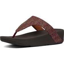 FitFlop Lottie Toe Post Womens Ladies Red Glitter Flip Flop Sandals Size 4-8