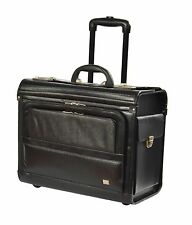 Pilot Case on Wheels Real Leather Business Laptop Travel Briefcase Bag Black NEW